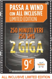 WIND ALL INCLUSIVE 250' 250 SMS 2GB A € 9,00